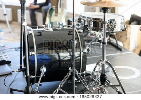 Drum set on a stage White background.