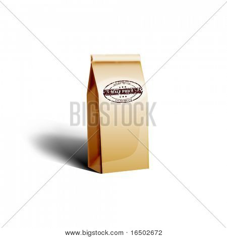 A pack of coffee in paper bag with half price stamp on it - Highly detailed vector icon | illustration