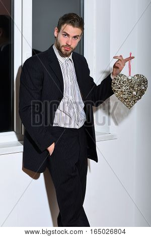 Bearded Businessman With Valentine Heart