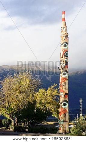 Jasper, Canada - September 8, 2016: Totem In The City Center On