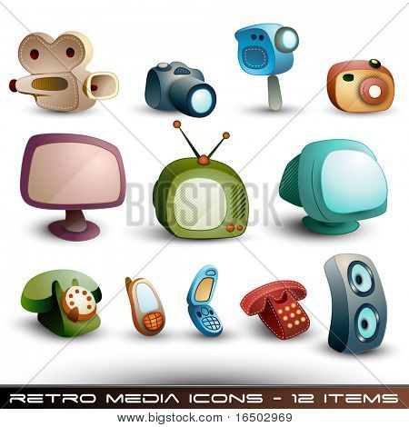 Cute Media Icons - Vector Set