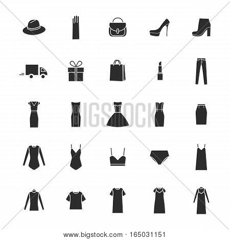 Vector icons set of ladieswear and accessories delivery gift.