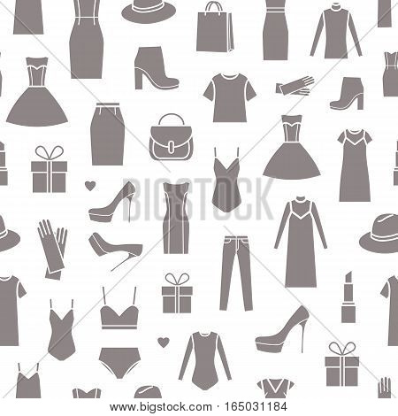 Vector seamless pattern of ladieswear and accessories on white background