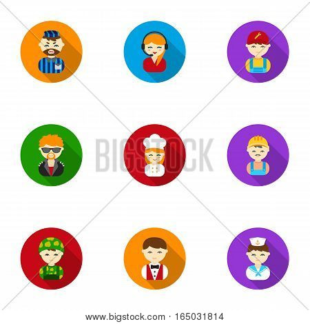 Profession set icons in flat style. Big collection of profession vector symbol stock