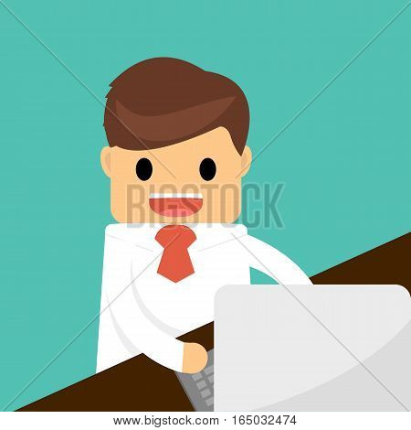 Happy businessman working on computer. Business concept