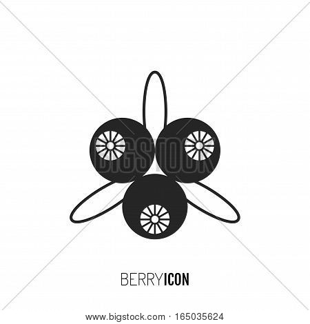 Flat black icon, silhouette. Berry and fruit object. Vector illustration