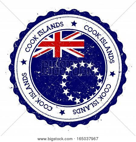 Cook Islands Flag Badge. Vintage Travel Stamp With Circular Text, Stars And Island Flag Inside It. V