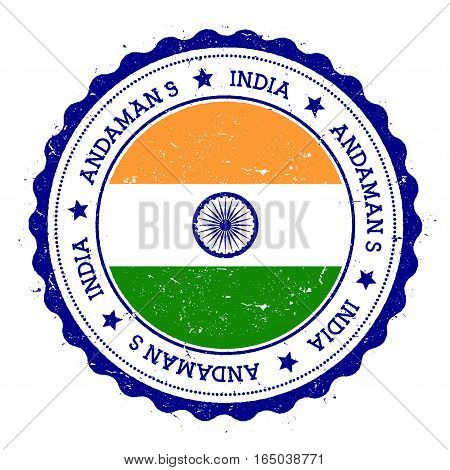 Andaman Islands Flag Badge. Vintage Travel Stamp With Circular Text, Stars And Island Flag Inside It