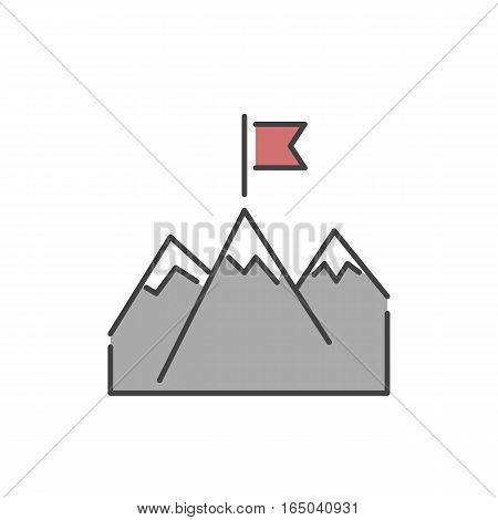 Mountains with flag success icon and business concept winner best idea, victory line art silhouette. Champion statistics labeled diagram symbol vector.