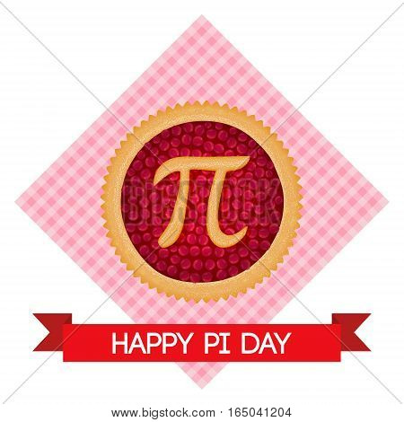Pi Day vector background. Baked cherry pie with Pi Symbol and ribbon. Mathematical constant irrational number greek letter. Abstract digital illustration for March 14th. Poster creative template