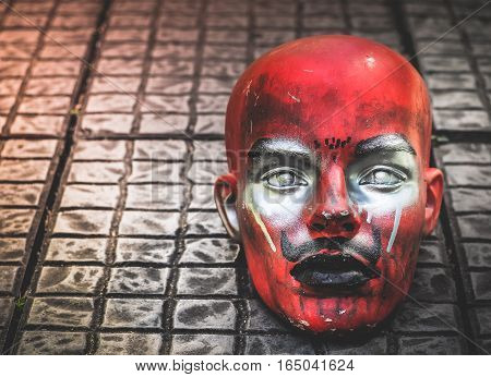Possessed Demonic mannequin doll (Satan) on The Floor, With Place Your Text, Horror Concept