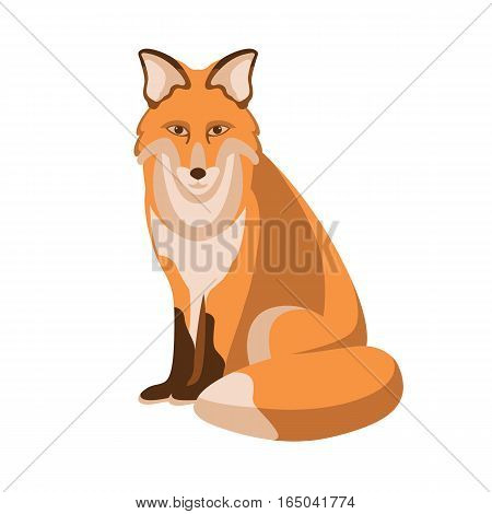 Fox vector illustration style Flat profile side