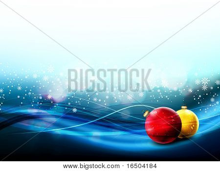 Christmas Banner with Realistic Balls and Falling Snowflakes | Large Space for your Text