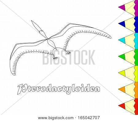 Dinosaur, Pterodactyloidea coloring page. Vector illustration. eps10