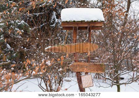 Signpost In Winter Garden