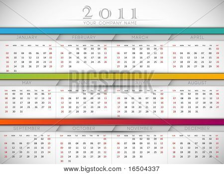 Clean 2011 Business Wall Calendar | EPS10 Vector Template