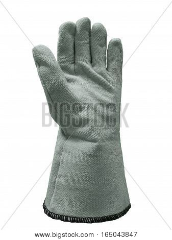 Work protective textile glove. Isolated on white background.