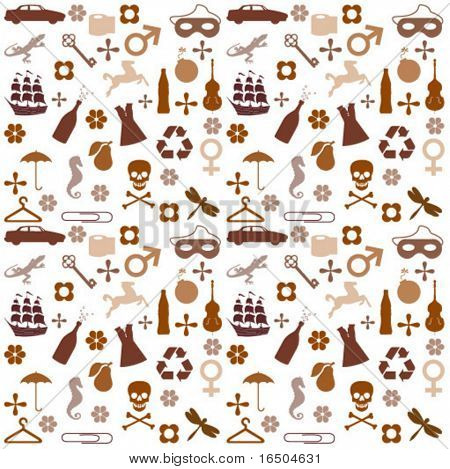 brown icons pattern