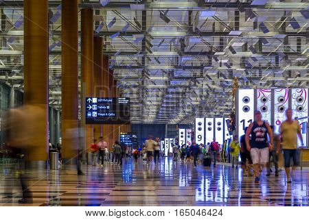 Singapore Changi International Airport Departure Hall, Visitors Walk Around Departure Hall In Changi