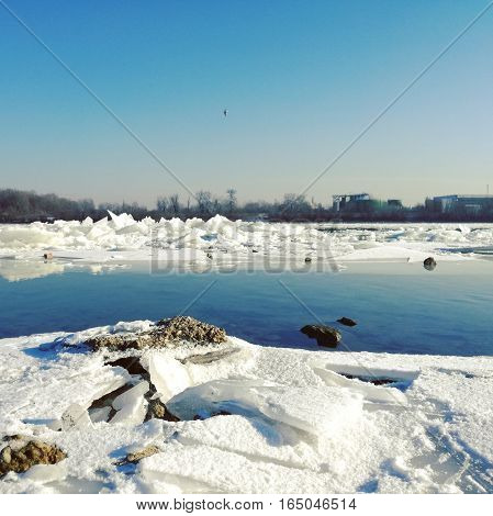 beautiful icetables by the frozen blue Danube