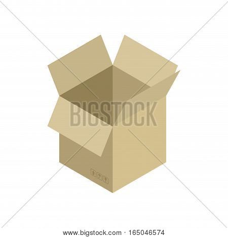 Cardboard Box Open Isolated. Containers For Moving
