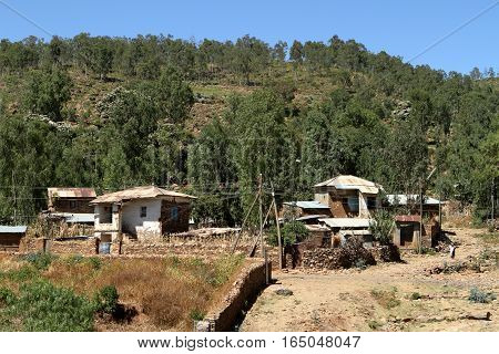 Houses and villages of Ethiopia in Africa