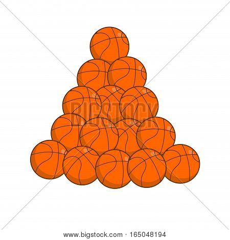 Pile Basketball Isolated. Lot Of Balls For Games