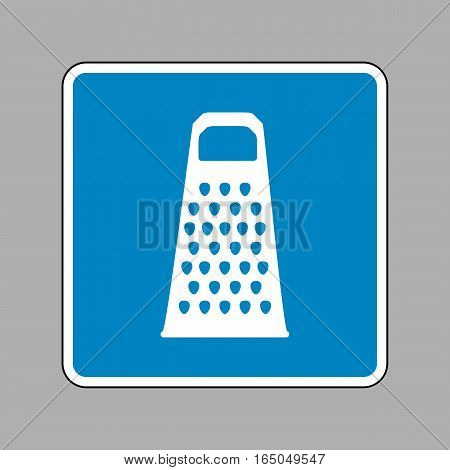Cheese Grater Sign. White Icon On Blue Sign As Background.