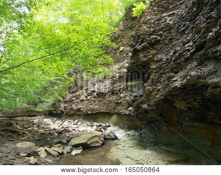 Shale Hillside with a stream at the bottom in a Delaware County Ohio Park