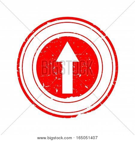 Scratched round red stamp with straight arrow - vector