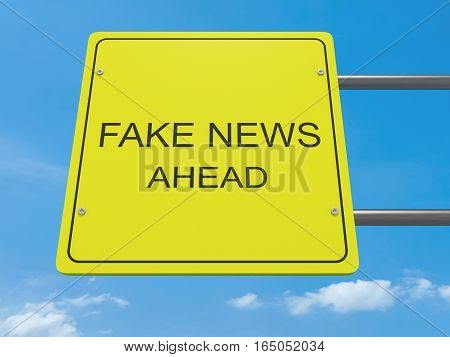 Yellow Road Sign Fake News Ahead Against A Cloudy Sky 3d illustration