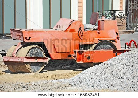 Red Asphalt Paver