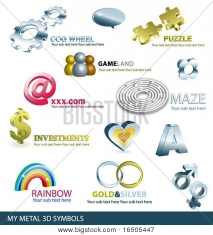 set of metal 3d symbols