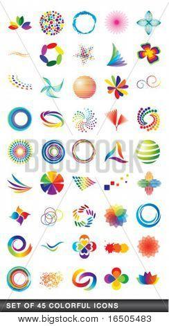 conjunto de iconos de colores 45