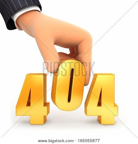 3d hand and error 404 concept illustration with isolated white background