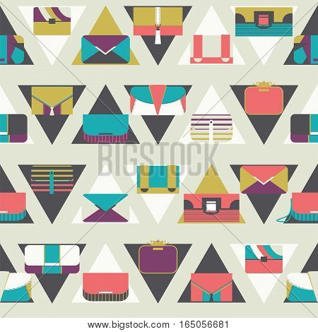 Seamless pattern with fashion bags and clutches in various shapes and sizes. Geometric vector illustration based on dark and white triangles and women bags. Bright stylish design for fashion