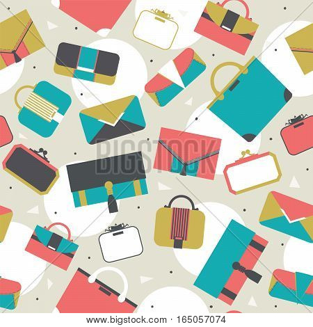 Seamless pattern fashion bags and clutches in various shapes and sizes. Geometric vector illustration with white circles dots and triangles women bags. Bright stylish design for fashion purposes