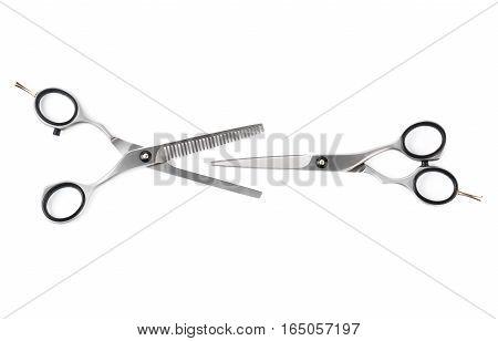 Set of hairdressing scissors isolated on white background.