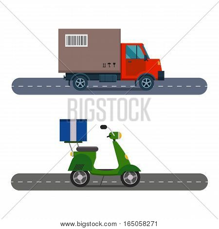 Delivery transport cargo logistic scooter vector illustration. Commercial highway industrial city truck. Fast shipment distribution export courier car.