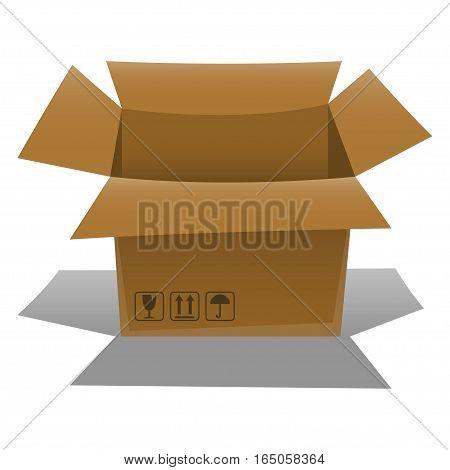 Opened empty cardboard box on white background. Vector illustration