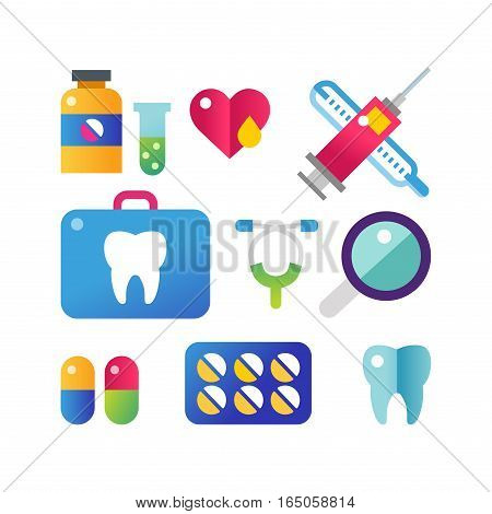 Medicine vector icons set. Doctors tools for health care. First help hospital patient clinic elements. Graphic nurse laboratory chemical symbols.