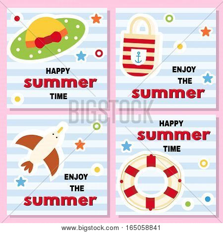 Set of funny backgrounds with summer vacation theme. Lifebuoy hat seagull bag on striped background. Vector illustration.