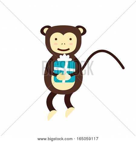 Fun monkey silhouette isolated vector illustration. Traditional horoscope animal design. Zodiac graphic primate nature funny chinese wildlife character.