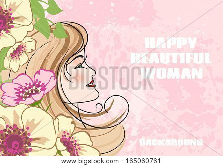 Beautiful fashion women with abstract flower and blots on a pink background with space for text.Beautiful template for banner or flyer.