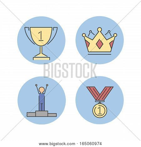 Business winner success vector line icons set isolated on white background. Competition sport award and team leader work style. Management leader concept element.
