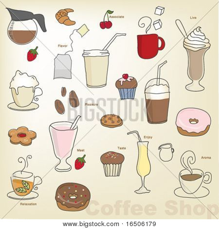 vector- coffee shop objects