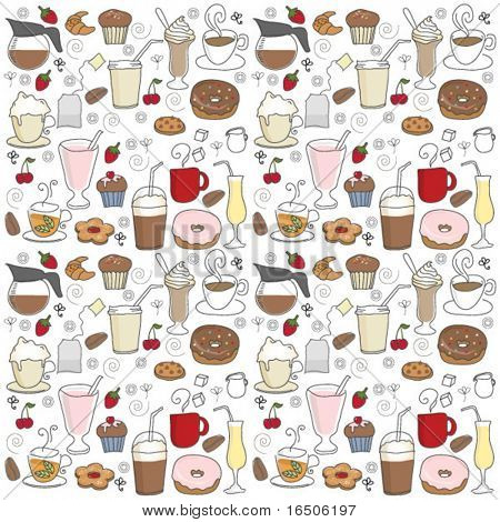 coffee shop icons pattern
