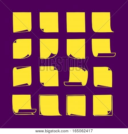 Vector yellow stick notes, collection of hand-drawn sheets of note paper with place for your text and message, isolated sticky note with curled corners, EPS 8