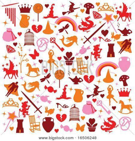 icons silhouette fantasy pattern