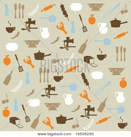 kitchen icons pattern